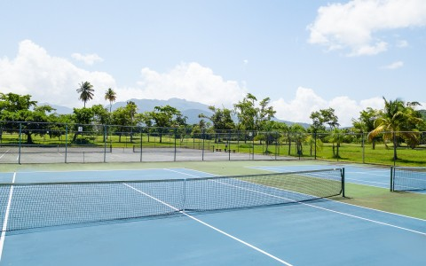 blue tennis courts