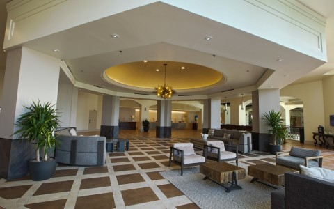 hotel lobby and seating areas