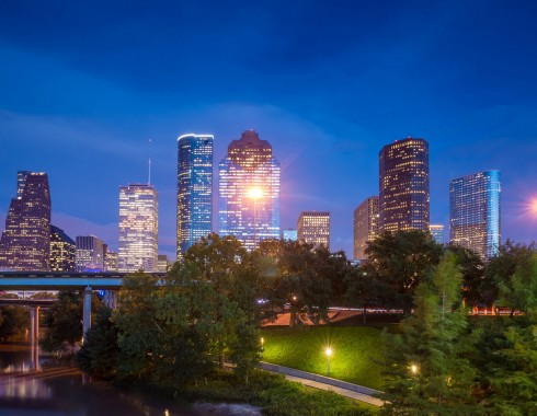 skyline of downtown houston at night
