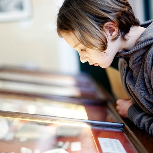 girl looking at an exhibit