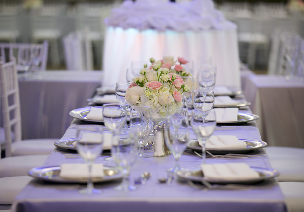 wedding table setting with pink and white roses home slide