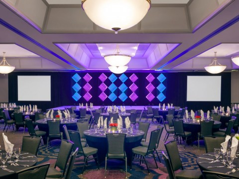 ballroom decorated with blue and purple details