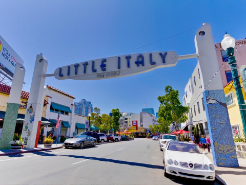 Little Italy neighborhood and sign over street