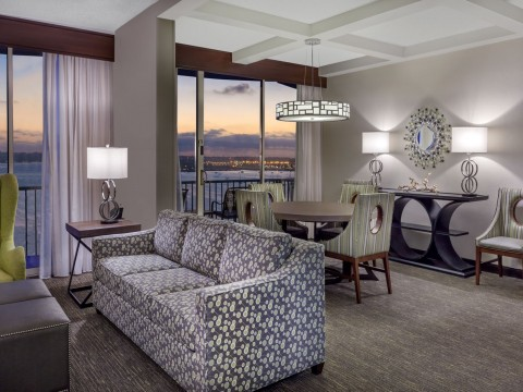 Modern room decor in the Governor's Suite with views to the sea