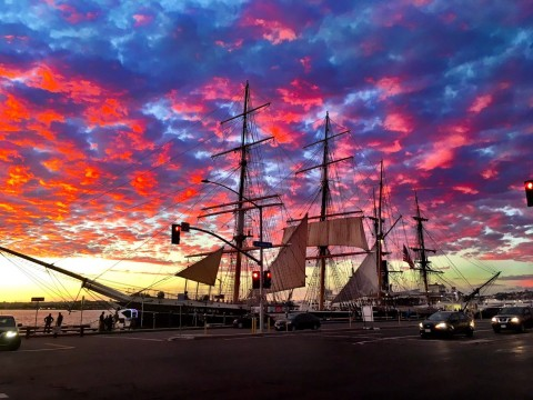 San Diego bay under a colorful sky