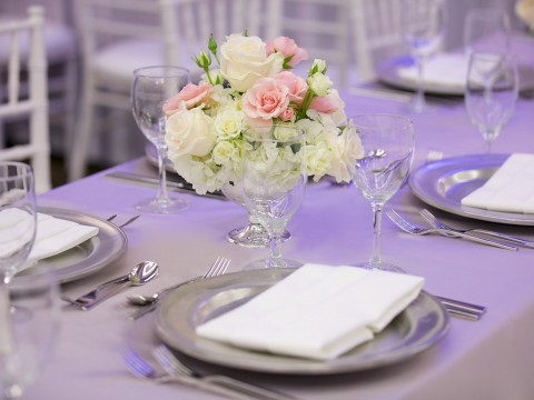 detail shot of white and pink flower arrangement on a table