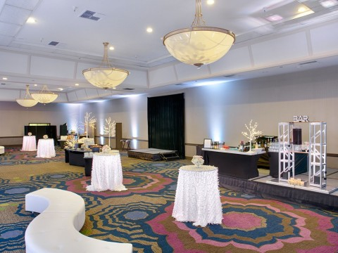 Coast Ballroom decorated with high tables