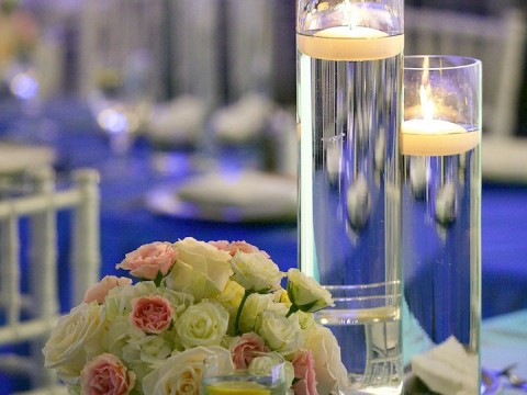 Wedding table set up with flowers and candles