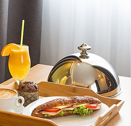 Room Service dining tray with sandwich and drink