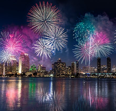 Fireworks over downtown San Diego and San Diego Bay for Big Bay Boom