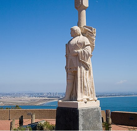 Cabrillo Monument looking out at San Diego bay