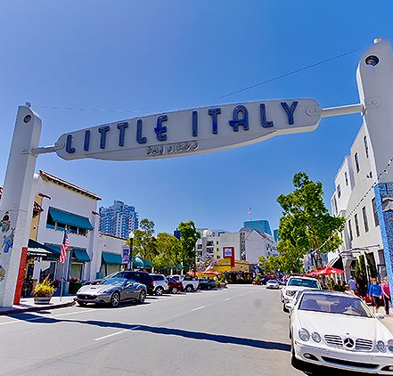 Little Italy neighborhood with sign over street
