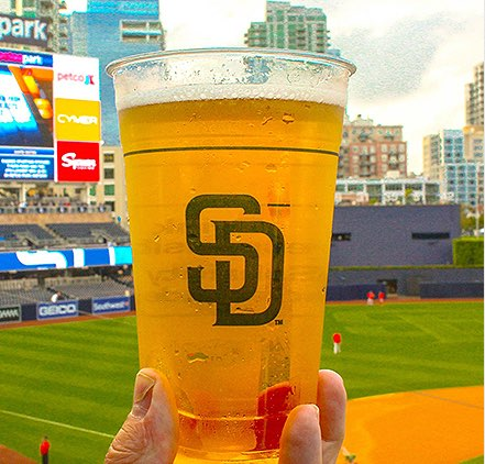 Padres baseball game and frosty beer