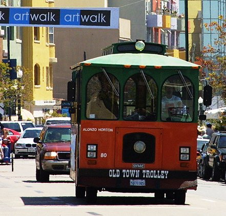 Old Town trolley  driving in San Diego