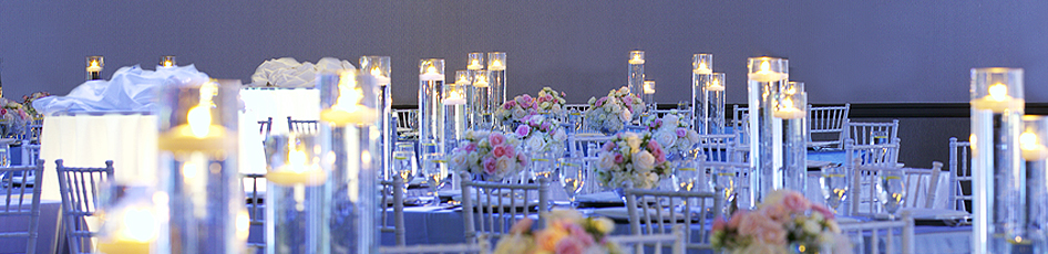 Tables set up for a wedding reception