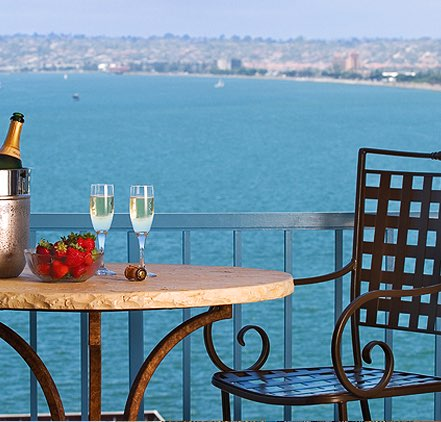 balcony table and chairs with view of San Diego Bay