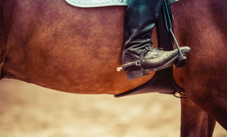 Horse and Cowboy Boot in Stirrup