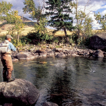 Man standing on a rock fishing in a river