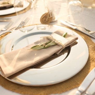 Silver gold place setting