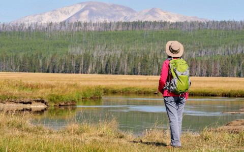 Woman hiking in Yellowstone