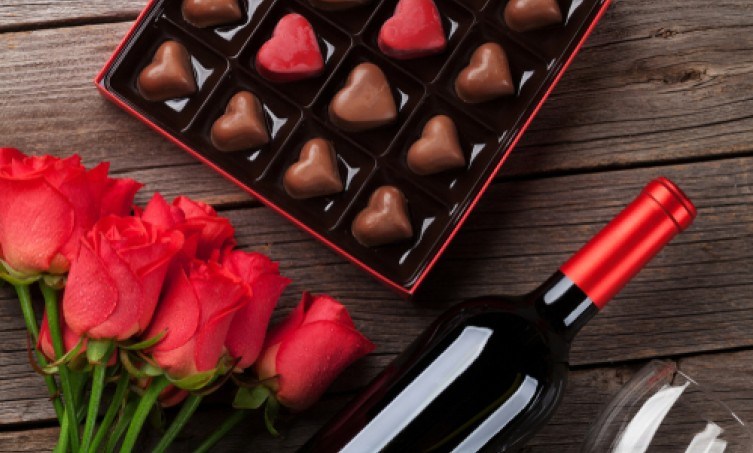 red wine chocolates and roses