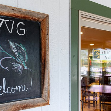 welcome sign at yellowstone valley grill