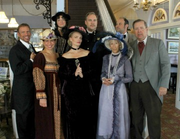 Murder mystery dinner cast dressed in colonial times attire