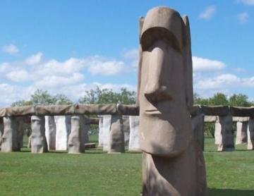 Stonehenge II and an Easter Island Head Replica