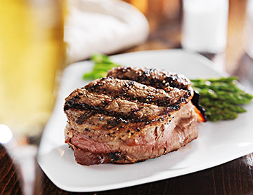 Plate of steak and asparagus