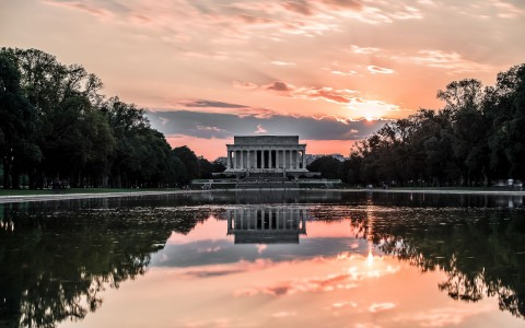 view of lincoln memorial with sunset