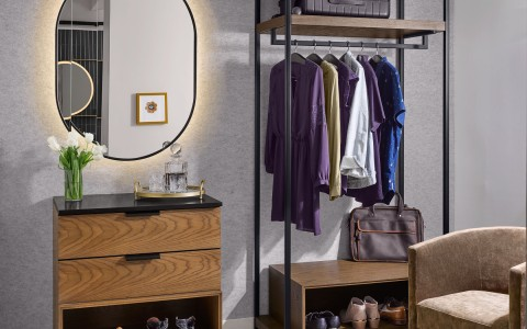 closet area with lighted mirror