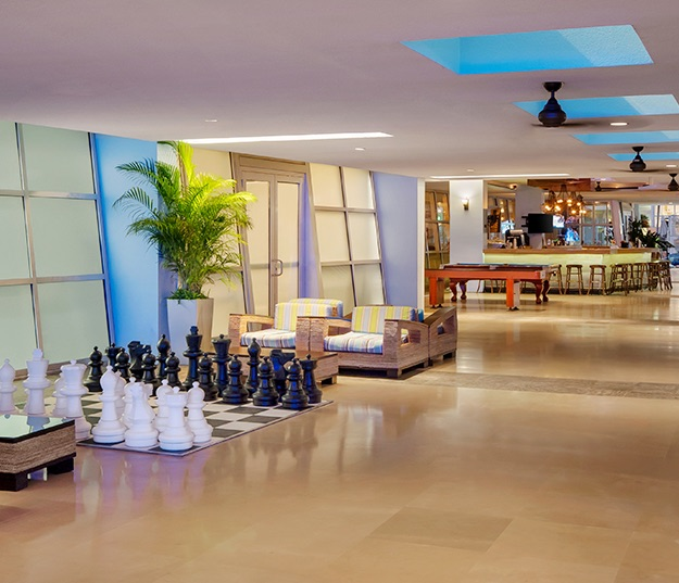 Hotel lobby with giant chess game