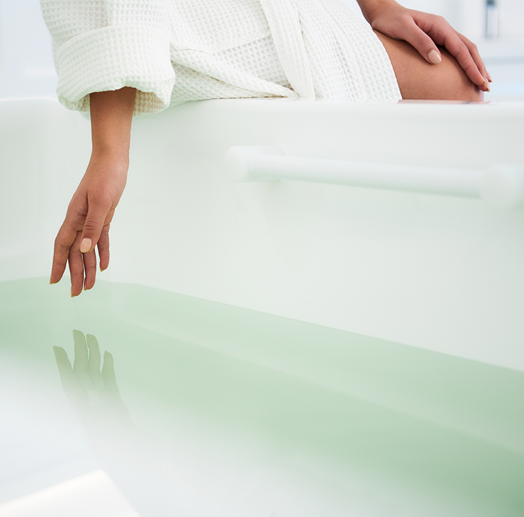 woman next to tub