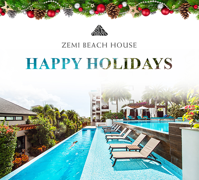 Image of infinity pool at zemi beach house with text saying happy holidays