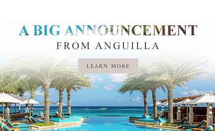 zemi beach house pool overlooking the ocean with text saying a big announcement from anguilla