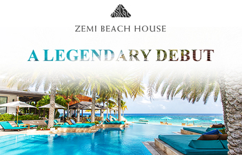 Zemi Beach pool overlooking the ocean with text overlaid reading A Legendary Debut