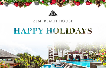 View of zemi beach house pool with text saying happy holidays