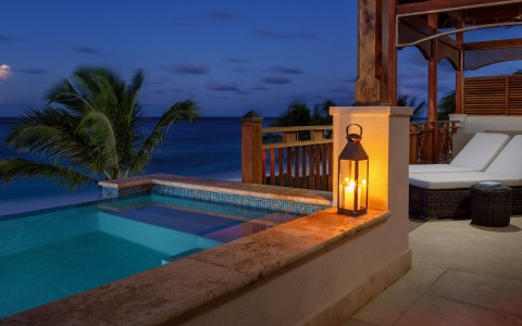 poolside at night with lamp