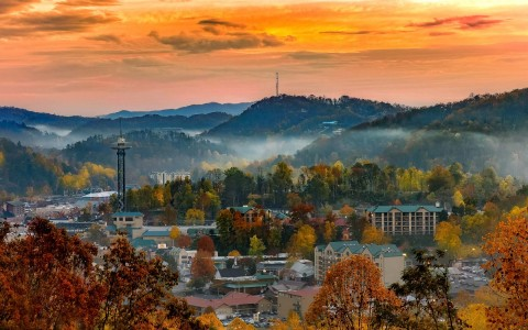 overhead view of downtown Gatlinburg during sun down - gallery image