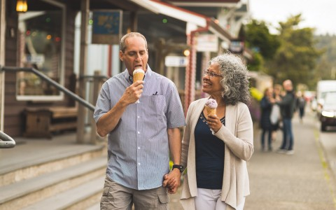 older couples walking and eating ice cream - gallery image