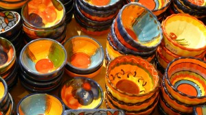 Brightly Colored Ceramic Pottery Bowls