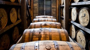 Distillery barrels and wooden kegs in wood basement