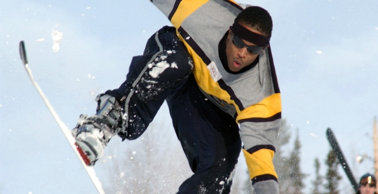 Snowboarder in Mid Leap
