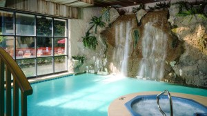 Indoor pool with waterfall feature