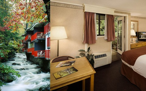 Collage of rooms beside a mountain river and room interior