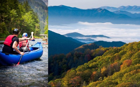 Collage of Canoeists paddling and Smoky Mountains landscape