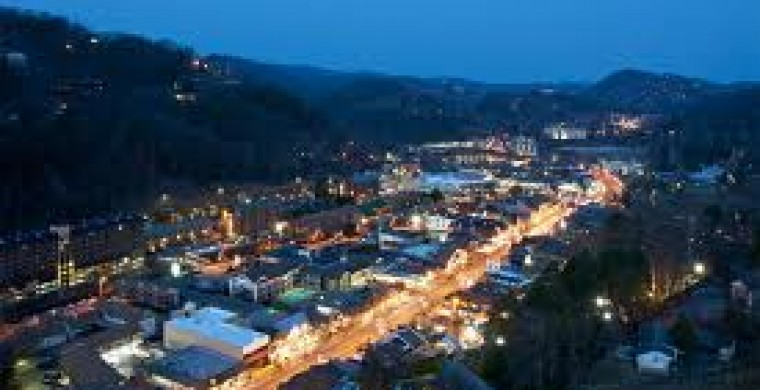 Aerial view of Gatlinburg at night