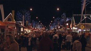 Gatlinburg street with winter festival lights