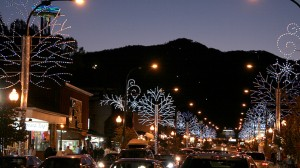 Holiday lights in Gatlinburg street