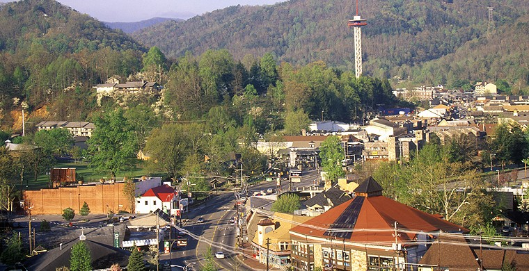 Aerial view of Gatlinburg town